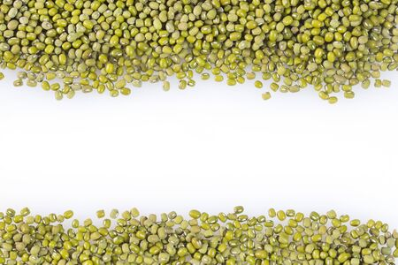 Mung beans - Vigna radiata. White background