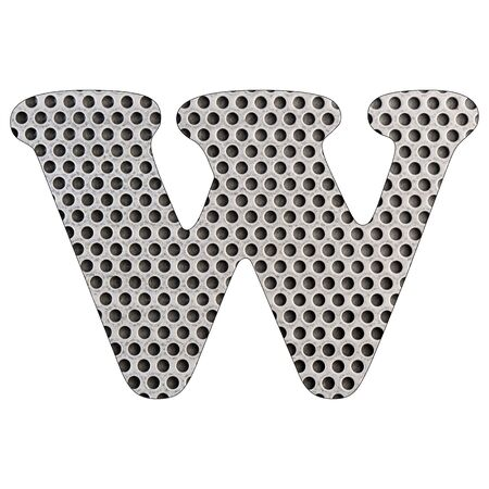 Letter W of the alphabet - Stainless steel punched metal sheet. White background