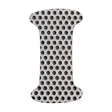 Letter I of the alphabet - Stainless steel punched metal sheet. White background Stock Photo