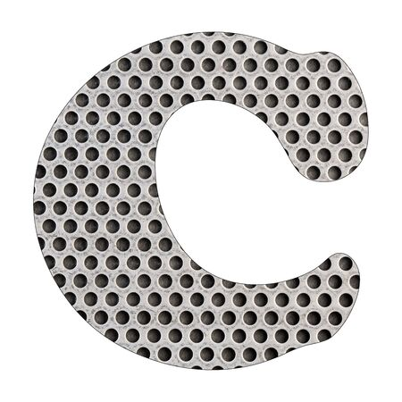 Letter C of the alphabet - Stainless steel punched metal sheet. White background Stock Photo