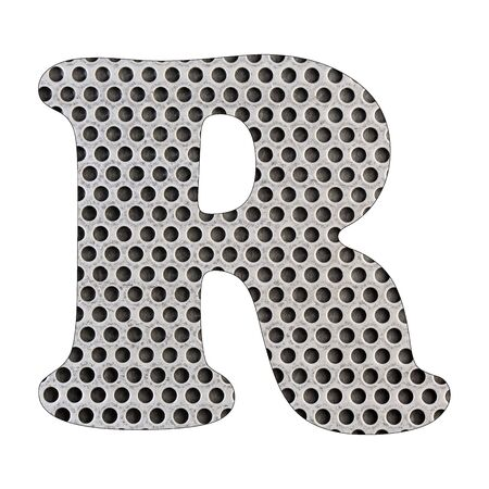 Letter R of the alphabet - Stainless steel punched metal sheet. White background