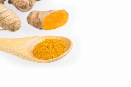 Fresh organic root and turmeric powder - Curcuma longa