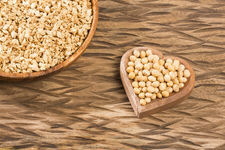 Crushed soybeans - Glycine max. Top view Stock Photo