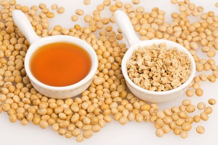 Oil and soybeans - Glycine max. White background
