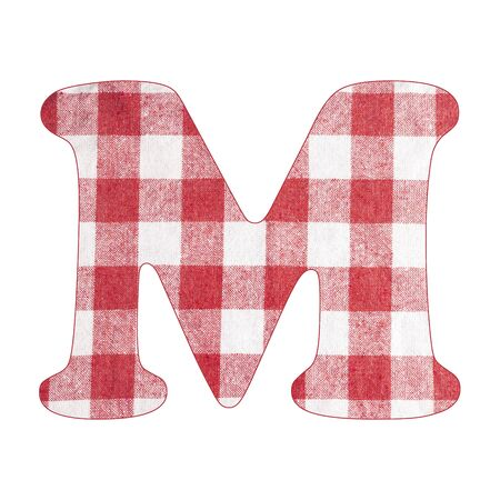 Letter M - Red checkered napkin background