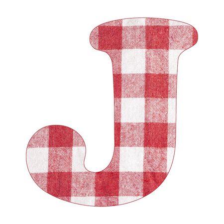 Letter J - Red checkered napkin background