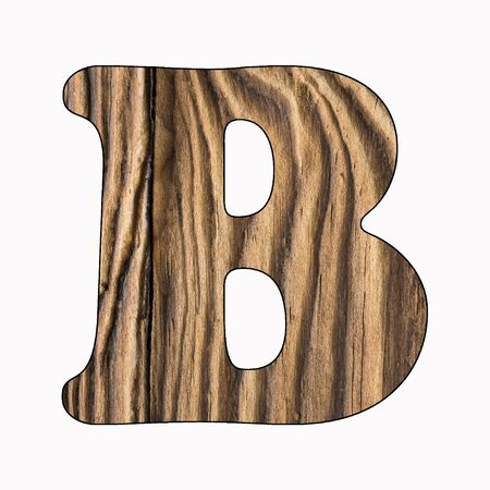 B, Rustic wooden alphabet letter on white background