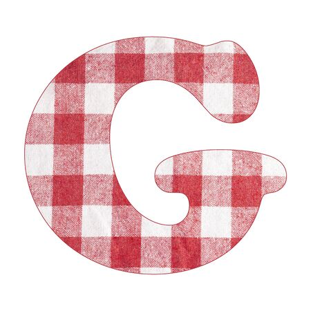 Letter G - Red checkered napkin background Stock Photo