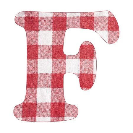 Letter F - Red checkered napkin background