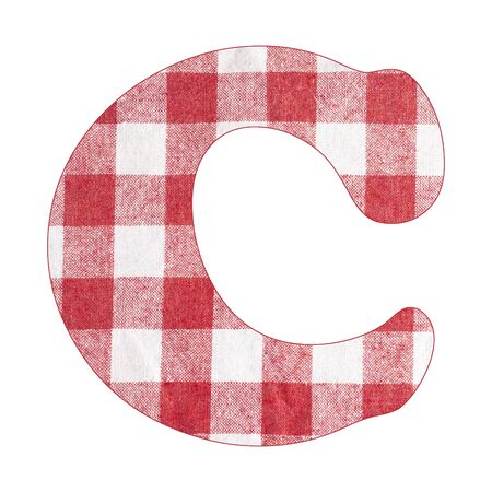 Letter C - Red checkered napkin background