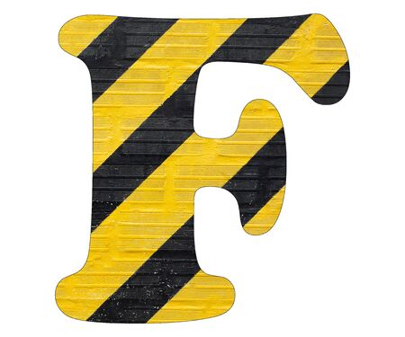 Letter F - Yellow and black lines