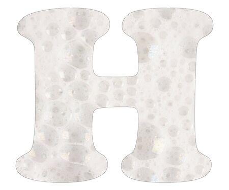 Letter H, soap foam background