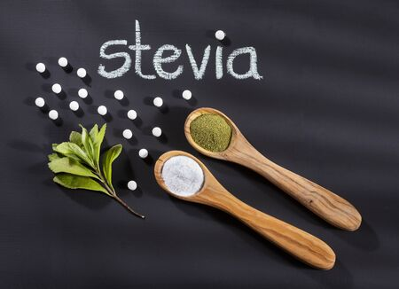 Stevia rebaudiana - Sweetener, tablets and leaves of the stevia plant