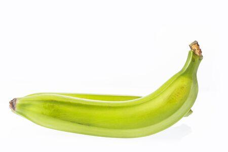 Colombian green banana on white background - Musa × paradisiaca