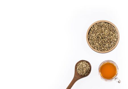 Foeniculum vulgare - Herbal tea fennel tea in glass cup with dried fennel seeds