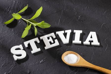 Stevia word in wooden letters - Stevia rebaudiana