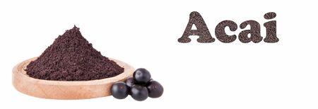 Euterpe oleracea - Berries and acai powder the Amazon fruit Zdjęcie Seryjne