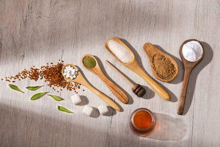 Variety of sweeteners - Sugar, stevia leaves, pollen and honey. Zdjęcie Seryjne