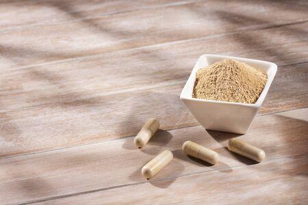 Lepidium meyenii - Maca tablets and powder Stock Photo