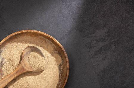 Lepidium meyenii - Organic maca powder. Text space Zdjęcie Seryjne