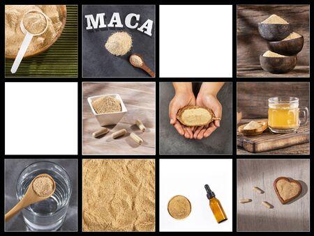Lepidium meyenii - Creative collage of maca powder images