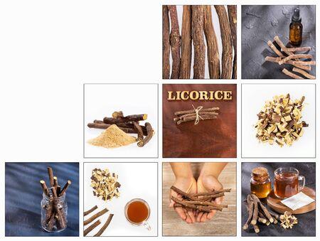 Glycyrrhiza glabra - Creative collage of licorice images