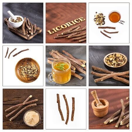 Creative collage of licorice images - Glycyrrhiza glabra