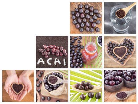 Creative collage of acai berry images - Euterpe oleracea