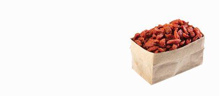 Lycium barbarum - dried goji berries in paper bag