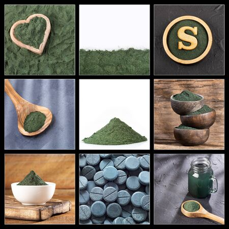 Creative collage of spirulina images - dietary supplement