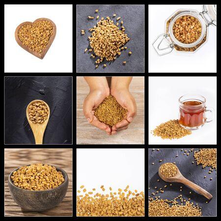 Creative collage of fenugreek seeds images Zdjęcie Seryjne