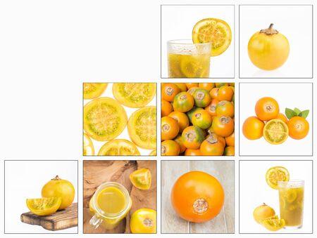 Creative collage of lulo images - Solanum quitoense