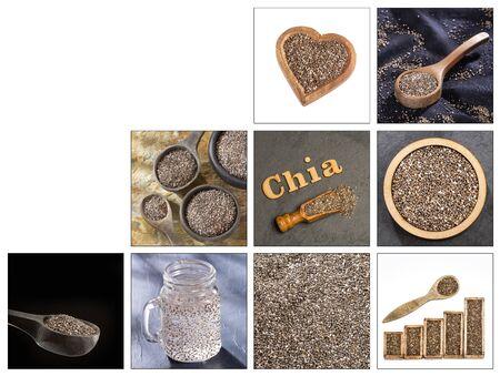 Creative collage of chia seeds images - Salvia hispanica