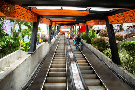 Medellín, Antioquia / Colombia - July 8, 2019. Escalators of the commune stair 13. Tourist zone. Publikacyjne