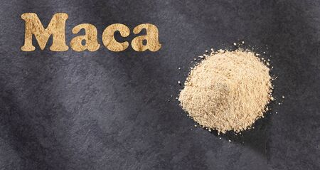 Dry Organic Maca Powder - Lepidium meyenii. Word maca in letters Stock Photo