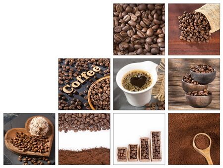 Creative collage of coffee beans images - Coffea