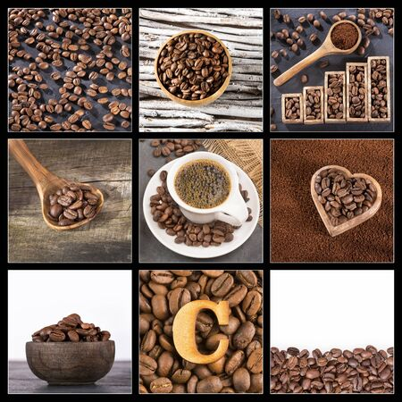 Coffea - Creative collage of coffee beans images Zdjęcie Seryjne