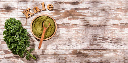 kale leaves and powder - Brassica oleracea var.