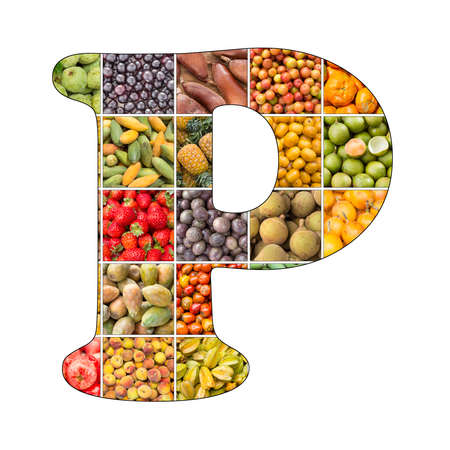 Letter P of the alphabet with fruit background