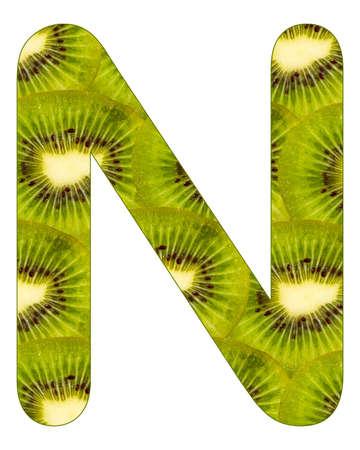 Alphabet letter N with kiwi fruit background - Actinidia deliciosa Stock fotó