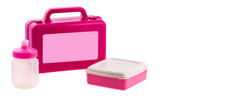 Plastic children's lunch box isolated white