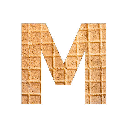 Alphabet Letter M - Wafer close-up texture Banque d'images