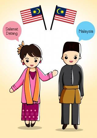 Malaysia traditional costume Illustration