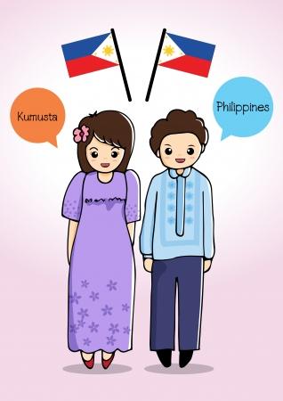 フィリピンの伝統的な衣装  イラスト・ベクター素材