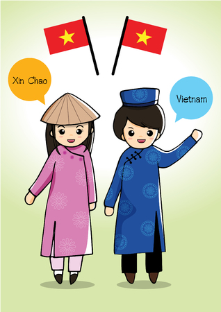 Vietnam traditional costume Vector