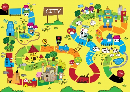 country: Catoon Kaart van City Stock Illustratie