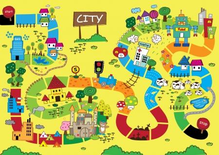 länder: Catoon Karte von City