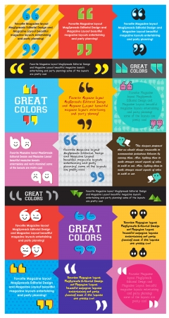 quotes: Colorful template question marks design, layout Illustration