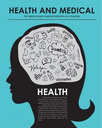 Gezondheid medische pictogrammen de hand getekend vector illustratie, lay-out tijdschrift Stock Illustratie