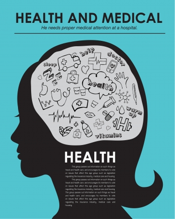 Health medical icons hand drawn vector illustration, layout magazine